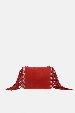 ddb46a2c6f FRINGED SPLIT SUEDE CROSSBODY BAG