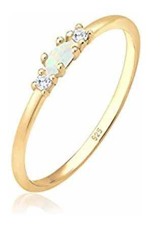 Elli Women's 925 Silver Plated Love Geo Blogger Opal Round Circle Ring