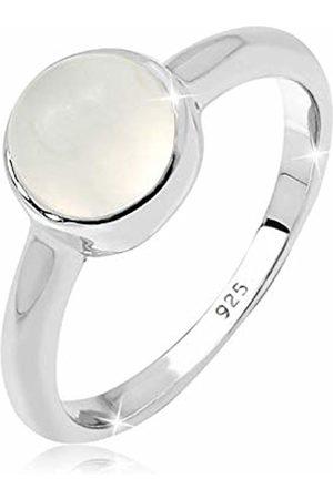 Elli Women's 925 Sterling Moonstone Gemstone Classic Stone Ring Sizes M N P Q