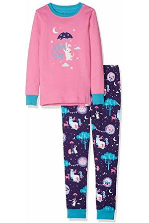 Hatley Girl's Organic Cotton Long Sleeve Appliqué Pyjama Sets, (Falling to Sleep)