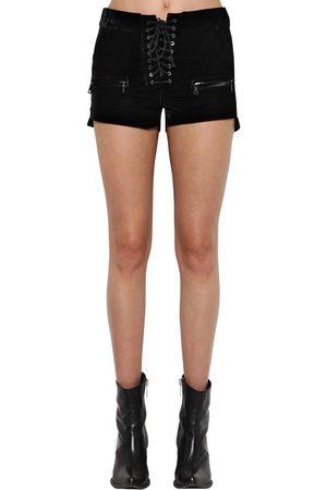 UNRAVEL Women Shorts - Velvet Lace Up Shorts