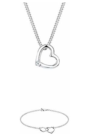 DIAMORE Women's 925 Sterling Silver Xilion Cut Heart Love Diamond Necklace of Length 45 cm with 925 Sterling Silver Xilion Cut 0.02 ct Diamond Heart Bracelet