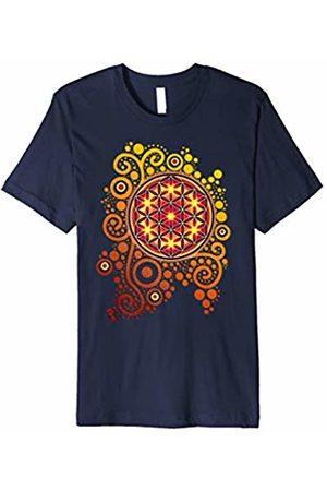 EDDArt Sacred Geometry T-Shirt Power Flower Of Life - orange yellow