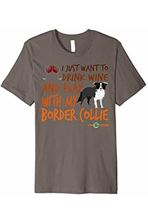 Funny Border Collie Apparel by ToonTyphoon Drink wine and play with my Border | Border Collie gift