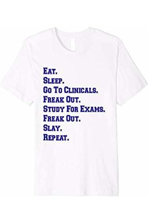 Nurse T-Shirt Gift Co NYC Funny Nurse Shirt Eat Sleep Clinicals Freak Out Slay Blue