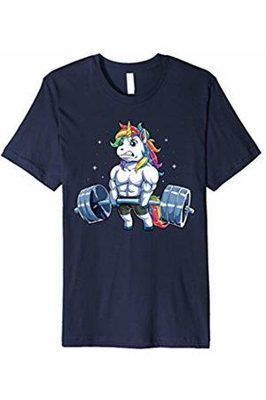 Lique Unicorn Unicorn Weightlifting T shirt Fitness Gym Deadlift Rainbow