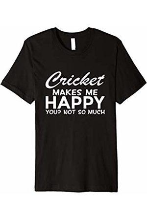 Make Happy Shirt Men T-shirts - Cricket Makes Me Happy Funny Sport T-Shirt