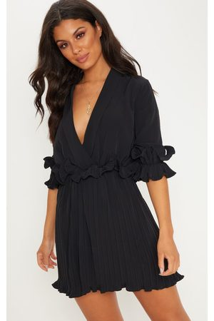 PRETTYLITTLETHING Frill Detail Pleated Skater Dress