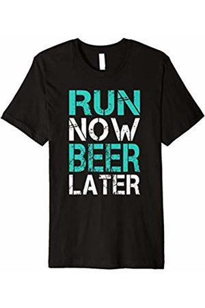 LUMOWELL - Running Run Now Beer Later Shirt - Funny Running T Shirt