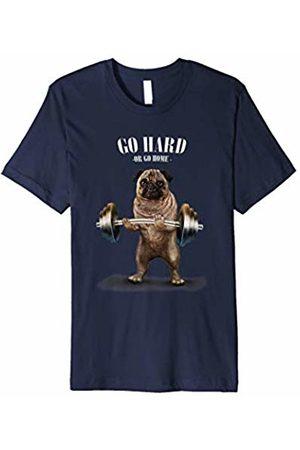 Fox Republic T-Shirts T-Shirt - Gym Pug Weightlifting, Go Hard or Go Home