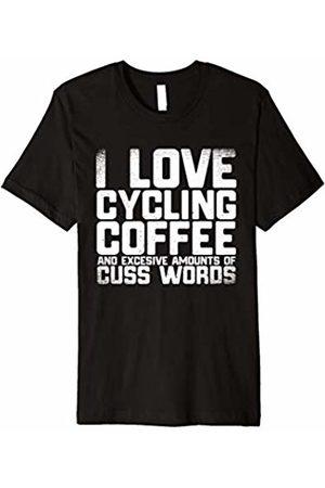 T-Shirt Expressive Cycling Biking Tee I Love Cycling Coffee And Cuss Words Biking T-Shirt