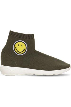 JOSHUA SANDERS Girls Trainers - Smiley Patch Knit Slip-on Sock Sneakers