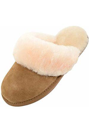 Snugrugs Women Slippers - Women's Sheepskin Mule Slipper with Sheepskin Cuff and Lightweight Sole, Chestnut