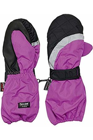 maximo Girl's Thermo Mitten Long Cuff Reflective Insert Velcro Fastener Plain Mittens