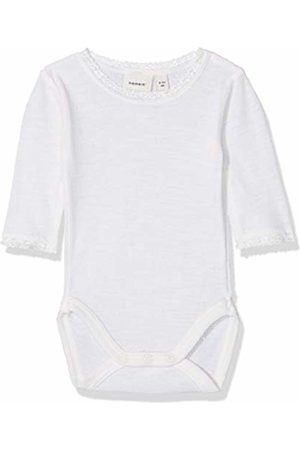 Name it Baby Girls' Nbfwang Wool Needle Ls Body Noos Footies (Snow Detail: Solid)