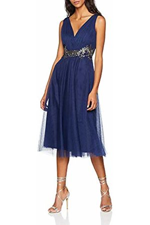 Little Mistress Women's Navy Applique Prom Dress, (Navy)