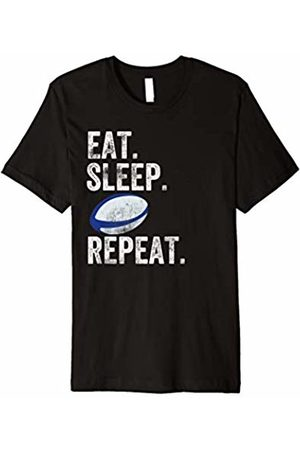 Rugby Player Team Gifts Fan Eat Sleep Rugby Repeat Tshirt Men Football Sports Ball Blue