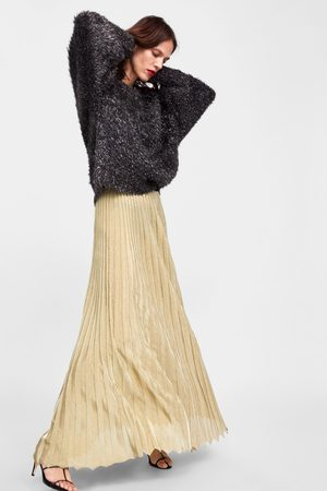 Zara LIMITED EDITION METALLIC THREAD PLEATED SKIRT