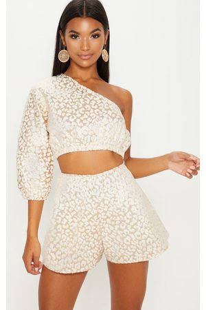 PRETTYLITTLETHING Gold Foil Print A Line Shorts