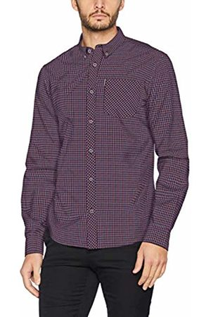 Ben Sherman Men's LS Mini House Gingham Shirt Casual (Burnt )