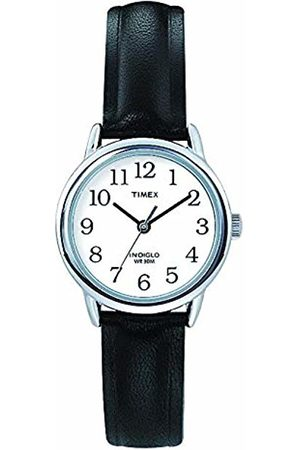 Timex Women's T20441 Quartz Easy Reader Watch with White Dial Analogue Display and Black Leather Strap