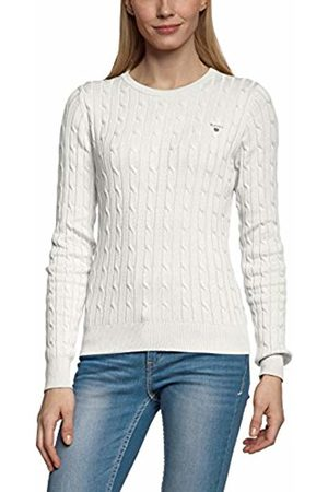 GANT Women's STRETCH COTTON CABLE CREW Regular Fit Crew Neck Long Sleeve Jumper, Off- (Eggshell)