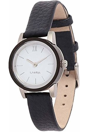 Laimer Women's Woodwatch Fiona Mod. 0092 Sandalwood - Analogue Quartz-Wristwatch with Navy- Leather-Strap