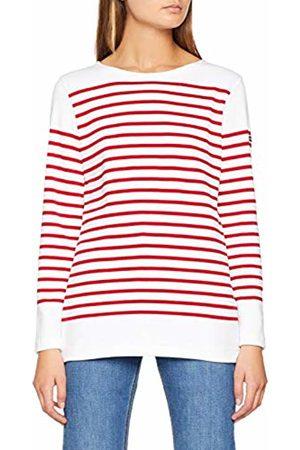 Armor.lux Women's Mariniere AMIRAL T - Shirt, Multicolore 320 Blanc/Braise