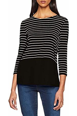 warehouse Women's Stripe Button Back Woven Mix Long Sleeve Top ( and 77)