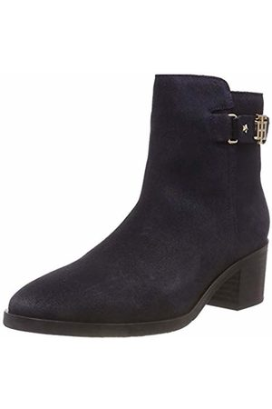 Tommy Hilfiger Women's Th Buckle Mid Heel Boot Suede Ankle