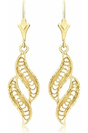 Carissima Gold 9ct Gold Filigree Wave Drop Earrings