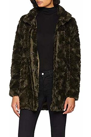 Vero Moda Women's Vmcurl High Neck Faux Fur Jacket Noos Ki Coat, Peat