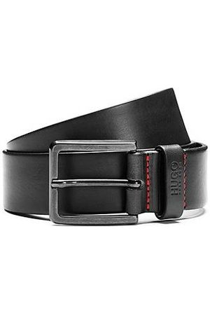 HUGO BOSS Men Belts - Leather belt with matte gunmetal hardware