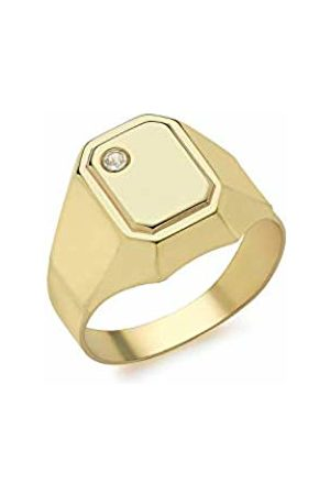 Carissima Gold Women's 9 ct Yellow Cubic Zirconia 7 x 9.2 mm Rectangle Signet Ring