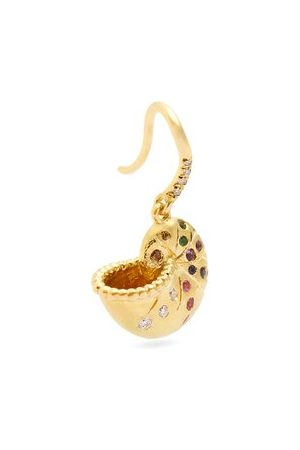 Aurélie Bidermann Diamond, Sapphire & 18kt Gold Single Earring - Womens - Multi