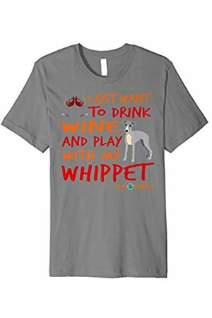 ToonTyphoon Funny Whippet T-Shirt Drink Wine and Play
