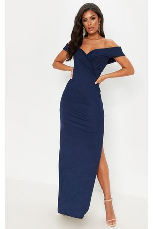 PRETTYLITTLETHING Women Maxi Dresses - Navy Bardot Fold Detail Extreme Split Maxi Dress