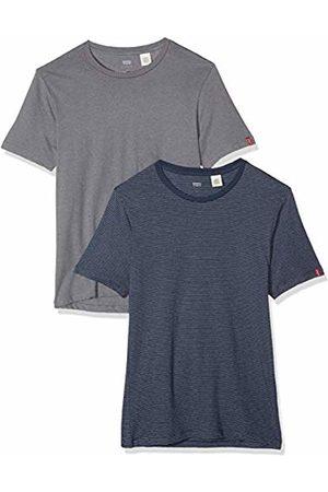 Levi's Men's Slim 2 Pack Crew Tee T-Shirt, (Fein Stripe/Quiet Shade Heather 0028)