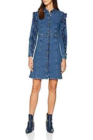 Lost Ink Women's Denim Shirt Dress with Frill Sleeve