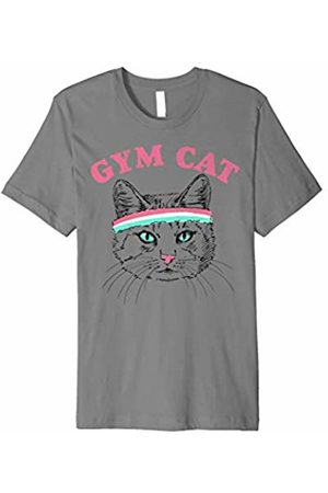 Cat Tshirt Gym Cat Outline With Headband Graphic T-Shirt