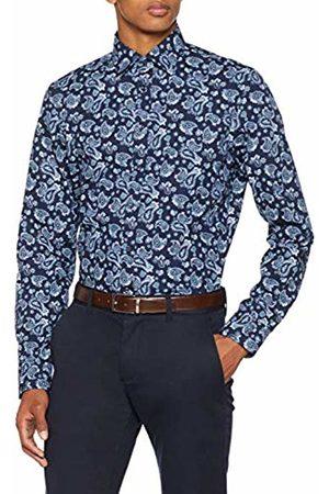 Seidensticker Men's Slim Langarm mit Covered-Button-Down-Kragen Soft Paisley Business Shirt