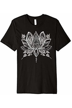 Boho T-Shirt White Henna Lotus Yoga Bohemian Premium T-Shirt