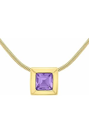 Carissima Gold Women's 9 ct 7 x 7 mm Square Amethyst Pendant on 0.8 mm Snake Chain Necklace of Length 41 cm/16 Inch