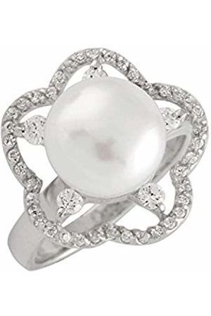 Bella Sterling Silver Freshwater Pearl and Cubic Zirconia Flower Ring - Size L