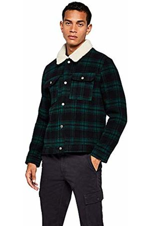FIND Men's Jacket in Trucker Style with Check and Shearling Long Sleeves and Wing Collar