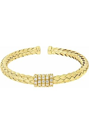 Citerna Yellow Plated Silver Basket Weave Cuff Bangle with Cubic Zirconia Rings
