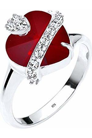 Elli Women's 925 Sterling Xilion Cut Swarovski Crystals Red Heart Ring