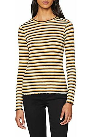 warehouse Women's Lurex Stripe Rib Long Sleeve Top, (Mustard)