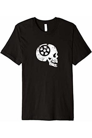 Funny Cycling Bicycle Tshirts Cycling Skull With Bicycle Sprocket Tshirt