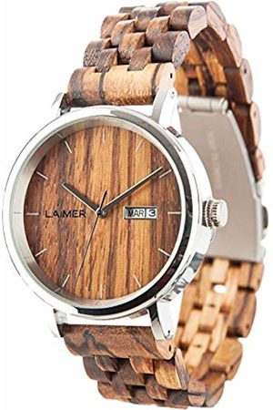 Laimer Automatic wood watch ROBERTO – mens wristwatch made of Zebrano wood and stainless steel case - business & nature
